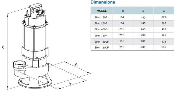 Kích thước sản phẩm máy bơm chìm nước thải Showfou