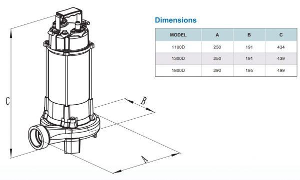 Chi tiết kích thước sản phẩm VR1100D