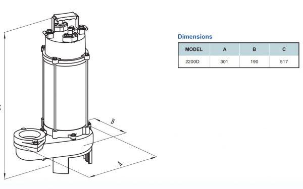 Chi tiết kích thước sản phẩm VR2200D