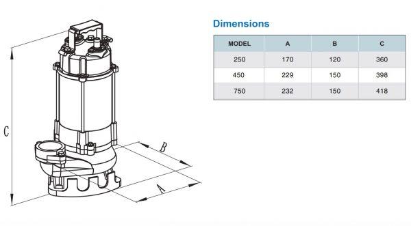 Chi tiết kích thước sản phẩm VR750 VR450 VR250